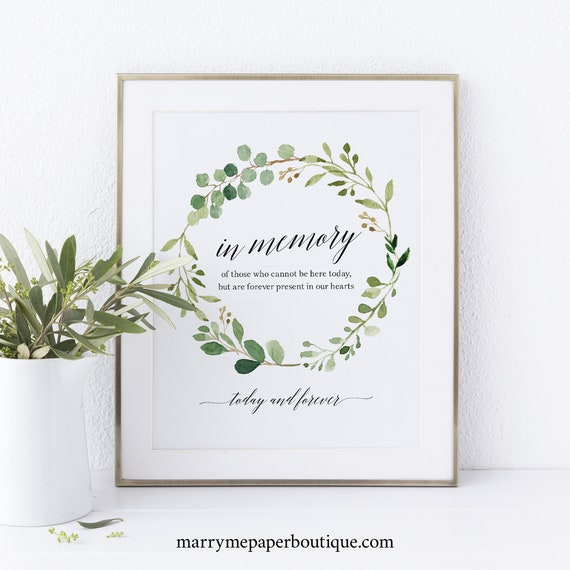 Greenery Wedding In Loving Memory Sign Template, Wedding Memorial Sign, Printable In Memory Sign Template, PDF Instant Download, MM07-1