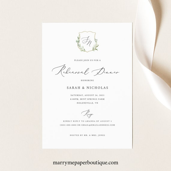 Rehearsal Dinner Invitation Template, Greenery Wedding Crest, Printable Wedding Rehearsal Dinner Invite, Editable, Templett INSTANT Download
