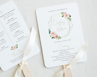 Wedding Program Fan Template, Blush Pink Geometric, Demo Available, Order Edit & Download In Minutes