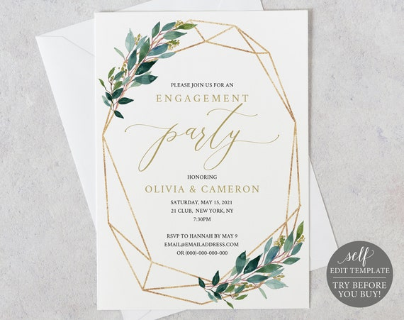 Engagement Party Invite Template, Greenery Geometric, Editable Instant Download, TRY BEFORE You BUY