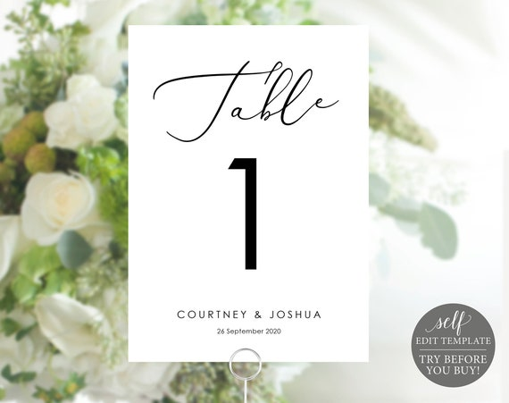 Table Numbers Template, 100% Editable Template, Elegant Wedding Table Numbers Printable, Instant Download, TRY BEFORE You BUY