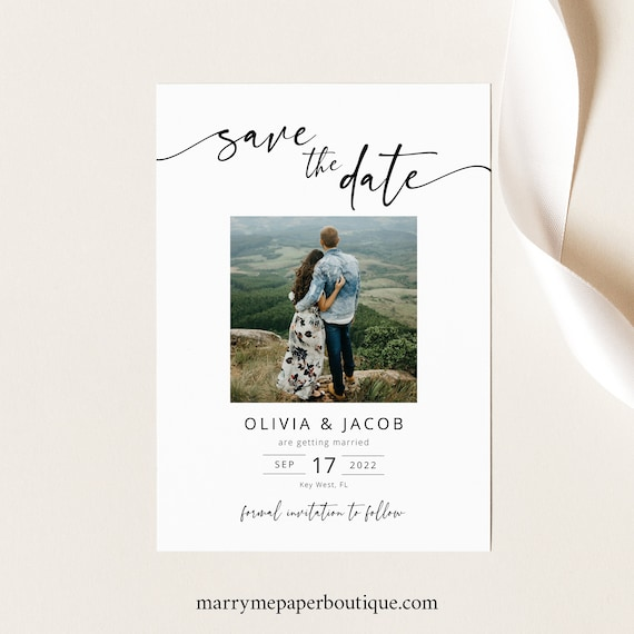 Save the Date Card Template, Modern Calligraphy, Try Before Purchase, Editable & Printable, Templett Instant Download