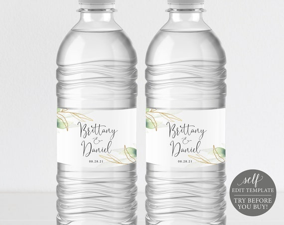 Water Bottle Label Template, Greenery Gold, Editable Instant Download, Free Demo Available