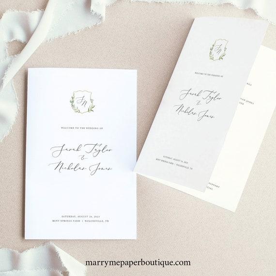 Wedding Program Template, Greenery Wedding Crest, Folded Wedding Ceremony Program, Printable, Editable, Templett INSTANT Download