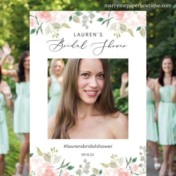Floral Wedding Bridal Shower Photo Booth Frame Template, Printable Photo Booth Template, Wedding Selfie Frame, Instant Download, MM08-3