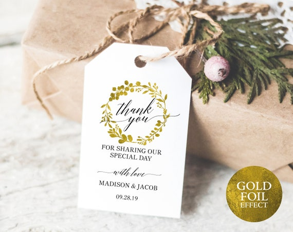 Faux Gold Wedding Thank You Tag Template, Editable Thank You Tag, Printable Thank You Tags, Favor Tags, PDF Instant Download, MM07-3