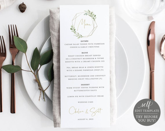 Wedding Menu Template, Templett, Greenery & Gold, Editable Printable, Instant Download