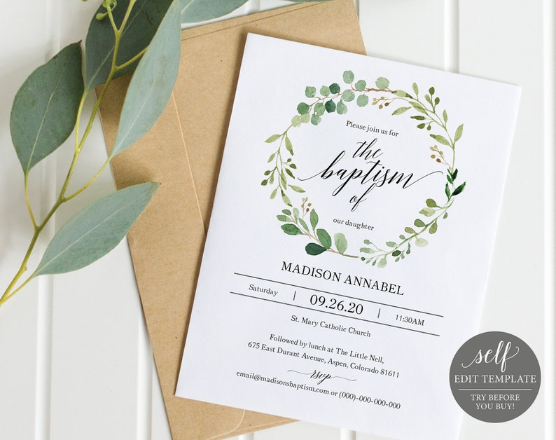 Greenery Baptism Invitation Template Printable Invite Christening 100 Editable Instant Download
