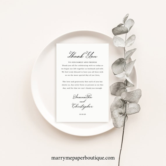 Thank You Letter Template, Elegant Romantic Script, Wedding Thank You Card Note, Printable, Templett INSTANT Download, Editable