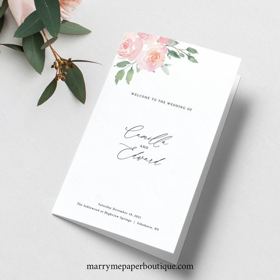 Wedding Program Template Folded, Elegant Blush Floral, Try Before Purchase, Templett, Editable & Printable, Instant Download