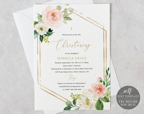 Christening Invitation Template, Pink Floral Hexagonal, TRY BEFORE You BUY, Editable Instant Download