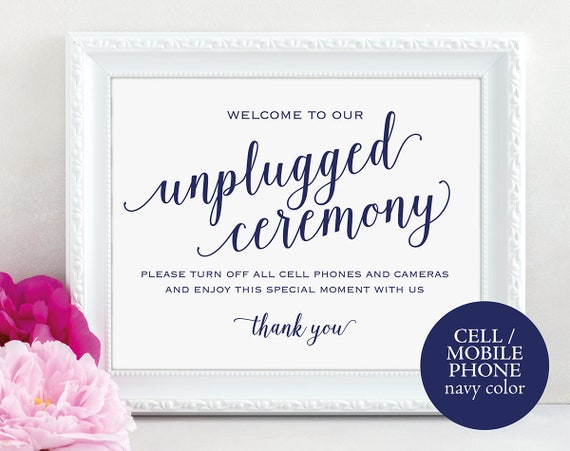 Navy Unplugged Ceremony Sign Template, Printable Unplugged Sign, Wedding Printable Unplugged Ceremony Sign, PDF Instant Download, MM01-4