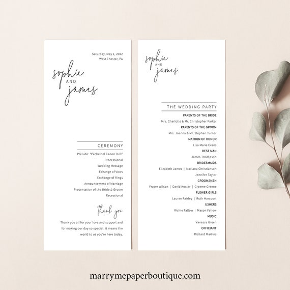 Wedding Program Template, Minimalist Elegant, Editable & Printable Instant Download, Templett, Try Before Purchase