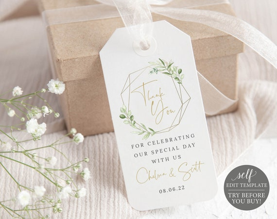 Favor Tag Template, Demo Available, Printable Editable Instant Download, Templett, Greenery & Gold