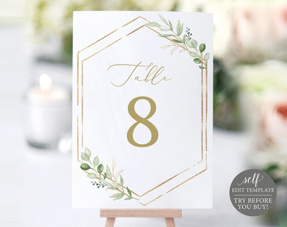 Table Number Template, Greenery Hexagonal, Editable & Printable Instant Download, Templett, TRY BEFORE You Buy