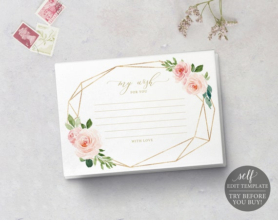 Wishes Card Template, Blush & Gold Geometric, TRY BEFORE You BUY, Instant Download, 100% Editable