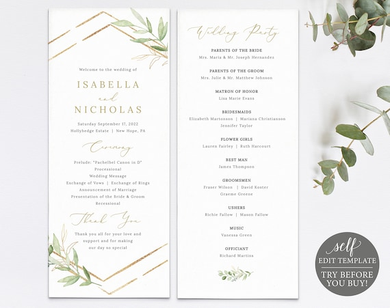 Wedding Program Template, Greenery Hexagonal, TRY BEFORE You Buy, Editable & Printable Instant Download, Templett