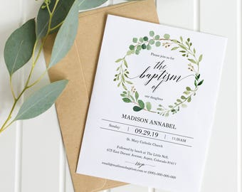 Greenery Baptism Invitation Template, Printable Baptism Invite, Printable Christening Invitation Template, PDF Instant Download MM07-1