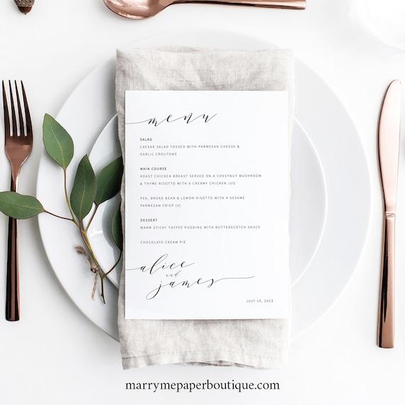 Wedding Menu Template, Modern Elegant, Wedding Table Menu Card, Printable, Editable, 5x7 Menu, Templett INSTANT Download