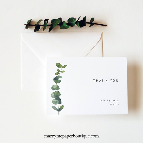 Thank You Card Template, Folded, Elegant Eucalyptus, Greenery Thank You Card, Printable, Editable, Templett INSTANT Download