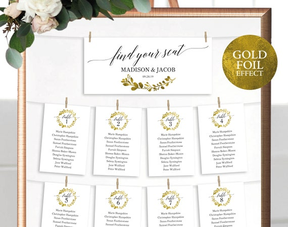 Faux Gold Wedding Seating Chart Template, Printable Seating Plan Cards Template, Editable Wedding Seating, PDF Instant Download, MM07-3