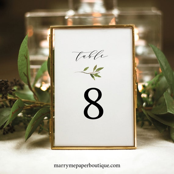 Greenery Wedding Table Number Template, Green Leaf, Table Number Sign Printable, Templett Editable, Instant Download