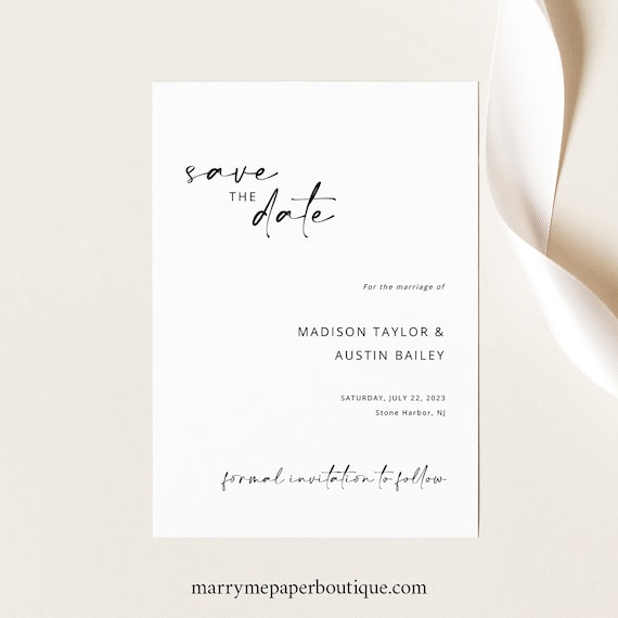 Save the Date Card Template, Handwritten Style, Modern Minimalist, Save Our Date, Printable, Templett INSTANT Download, Editable