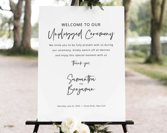 Minimalist Unplugged Ceremony Sign Template, Modern Calligraphy, Unplugged Wedding Sign, Printable, Editable, Templett INSTANT Download