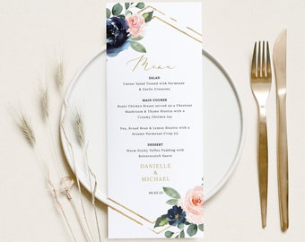 Wedding Menu Template, Navy & Blush Floral, Wedding Table Menu Card, Printable, Editable, Templett INSTANT Download