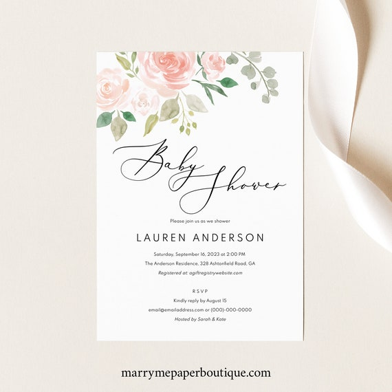 Baby Shower Invitation Template,  Editable, Baby Shower Invite Printable, Instant Download, TRY BEFORE You Buy, Pink & Blush Floral