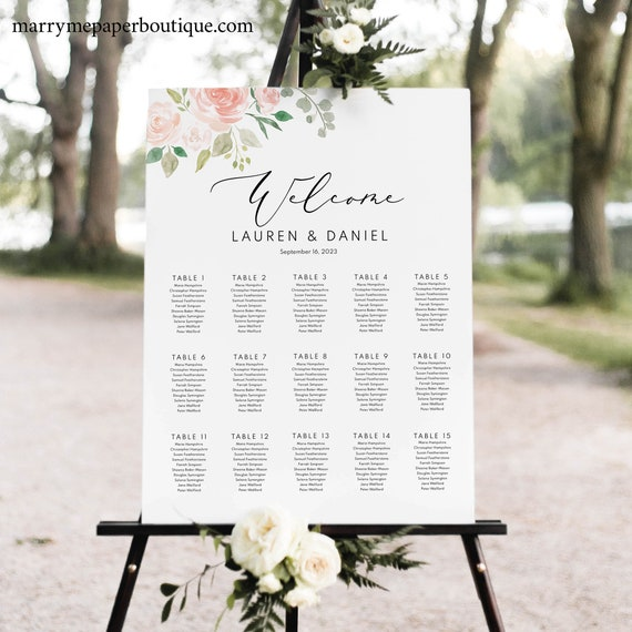 Floral Wedding Seating Sign Template, Printable Wedding Seating Chart Template, Find Your Seat, Find Your Table, Instant Download