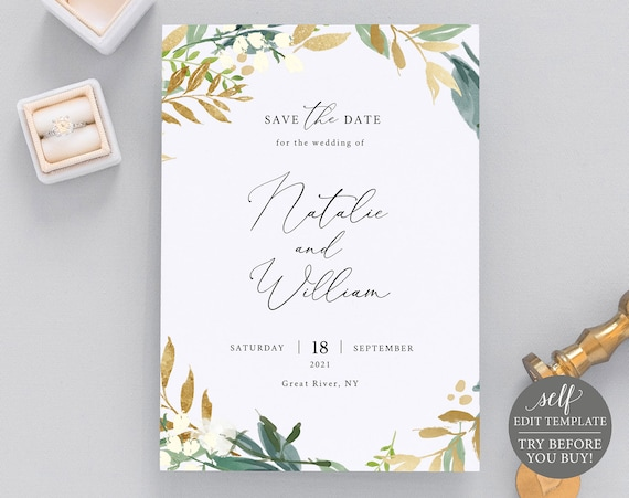 Save the Date Template, Gold & Green Floral, Fully Editable Instant Download, TRY BEFORE You BUY