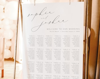 Wedding Seating Chart Template, Luxury Calligraphy, Elegant Seating Plan, Printable, Editable Sign, Templett INSTANT Download, Vertical