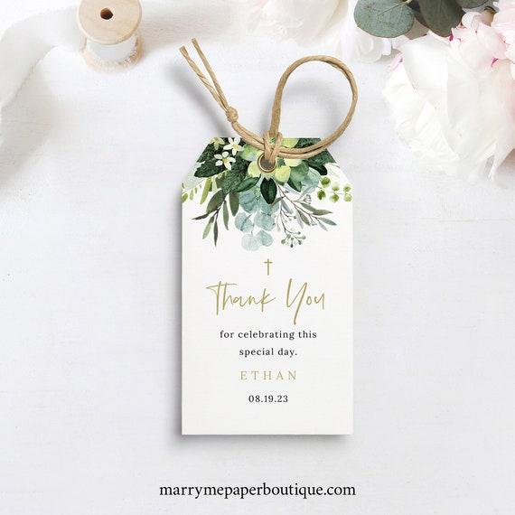 Baptism Thank You Tag Template, Lush Greenery, Baptism Tag, Printable Favor Tag, Editable, Templett INSTANT Download