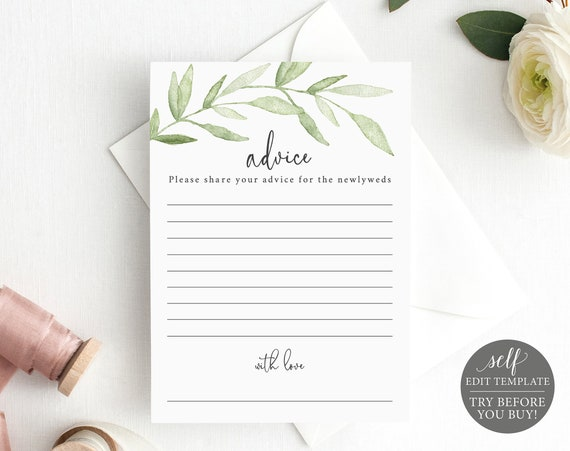 Advice Card Template, Greenery Leaves, TRY BEFORE You BUY, Editable Instant Download