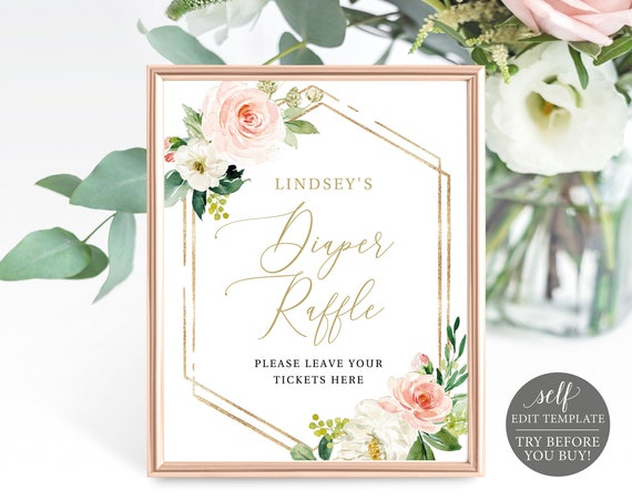 Diaper Raffle Sign & Ticket Templates, TRY BEFORE You BUY, Blush Floral Hexagonal, Editable Instant Download