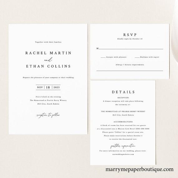 Wedding Invitation Template Set, Elegant & Refined, Printable Wedding Invite Set, Details, RSVP, Fully Editable, Templett, INSTANT Download