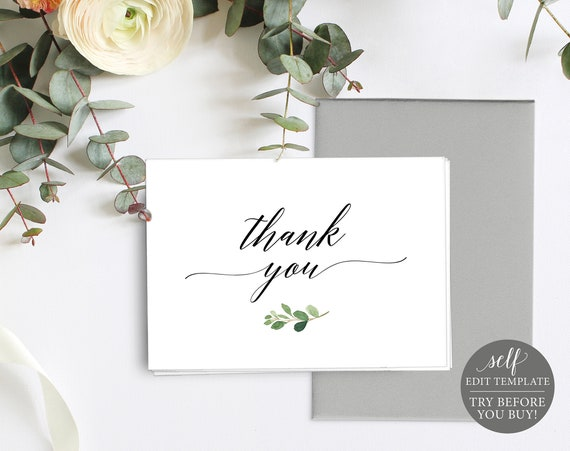 Thank You Card Template, Folded, TRY BEFORE You BUY, Fully Editable Instant Download, Greenery Leaf