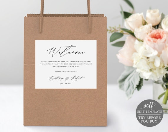 Guest Welcome Bag Label Template, Stylish Script, Editable Instant Download, FREE Demo Available