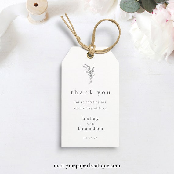 Gift Tag Template, Wedding Favor Tag Template, Templett Instant Download, Try Before Purchase, Modern Rustic Design