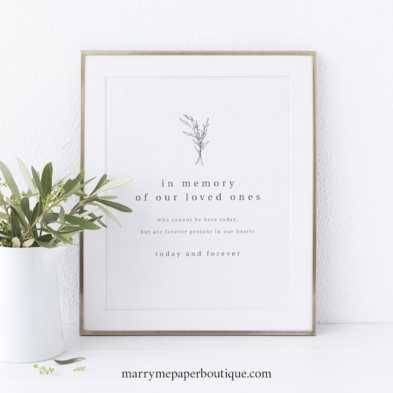 In Memory Sign Printable, Modern Rustic, Wedding Sign, INSTANT Download, Editable Template