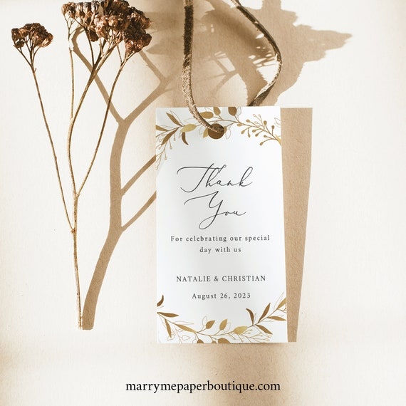 Thank You Favor Tag Template, Gold Wreath, TRY BEFORE You BUY,  Editable Instant Download