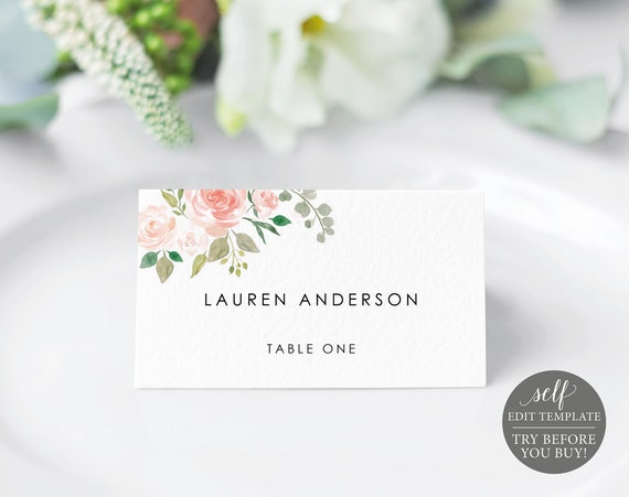 Place Card Template, Blush Floral, TRY BEFORE You BUY, 100% Editable Instant Download