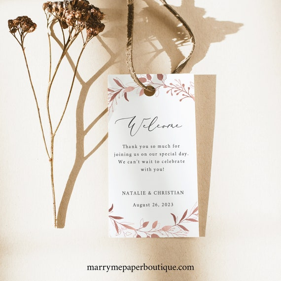 Wedding Welcome Tag Template, TRY BEFORE You BUY,  Editable Instant Download, Rose Gold