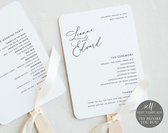 Wedding Program Fan Template, Minimalist Style, Editable & Printable Instant Download, Templett, Try Before You Buy