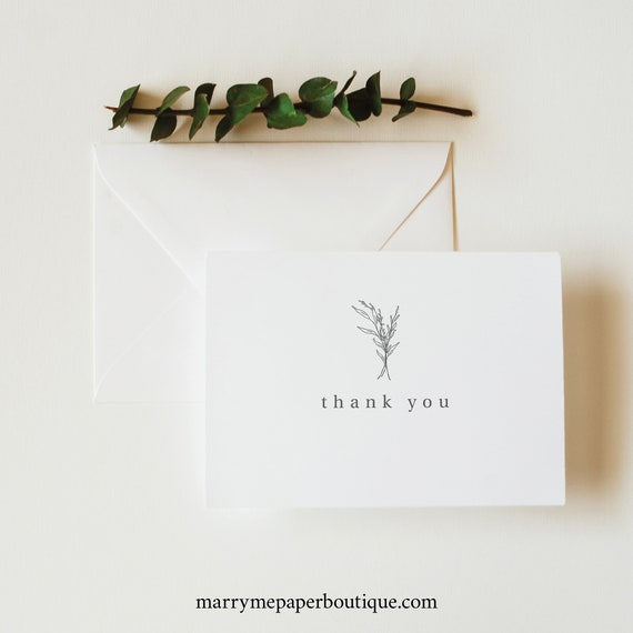 Thank You Card Template, Modern Rustic Thank You Card Folded, Try Before Purchase, Templett Instant Download