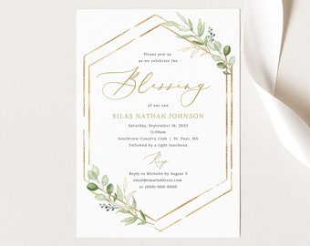 Blessing Ceremony Invitation Template, Greenery Hexagonal, Baby Blessing Invitation Card, Printable, Templett INSTANT Download, Editable