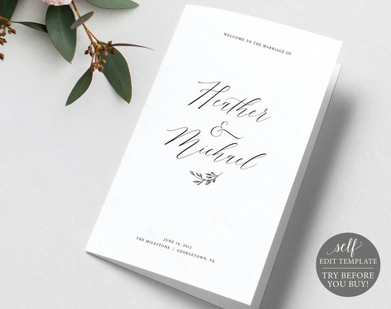 Wedding Program Template, Delicate Script Folded, FREE Demo Available, Editable Instant Download