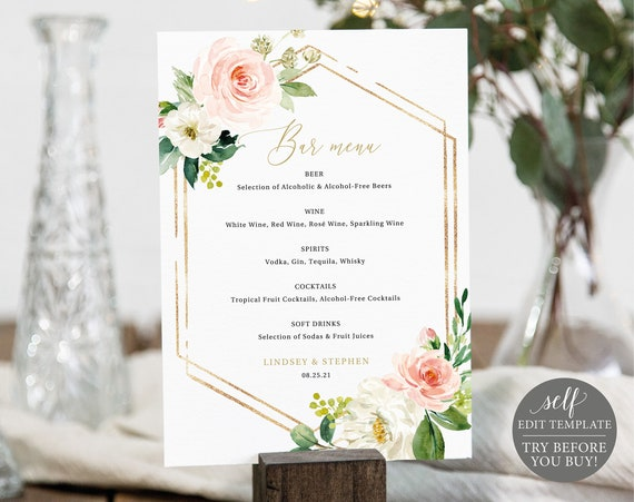 Bar Menu Template, TRY BEFORE You BUY, Editable Instant Download, Blush Floral Hexagonal
