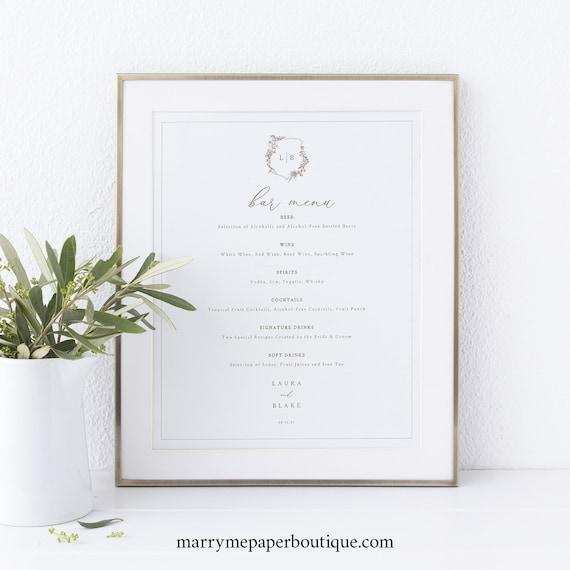Bar Menu Template, Elegant Botanical Crest, Wedding Crest, Drinks Menu, Printable, Templett INSTANT Download, Fully Editable